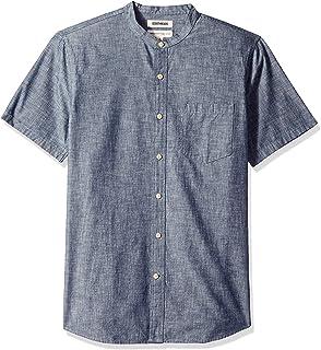 Marca Amazon - Goodthreads – Camisa de cambray con cuello en banda de manga corta de corte entallado para hombre: Amazon.es: Ropa y accesorios
