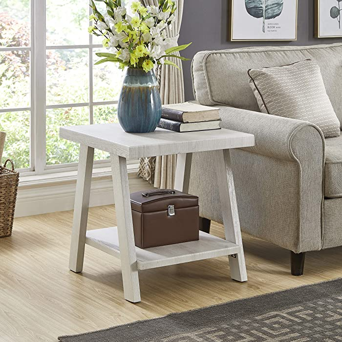 Roundhill Furniture Athens Contemporary Wood Shelf End Table, White