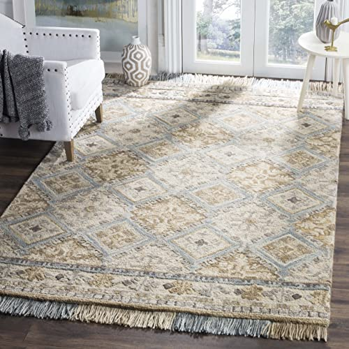 Safavieh Blossom Collection BLM421A Handmade Wool Area Rug, 8 x 10 , Beige Light Blue