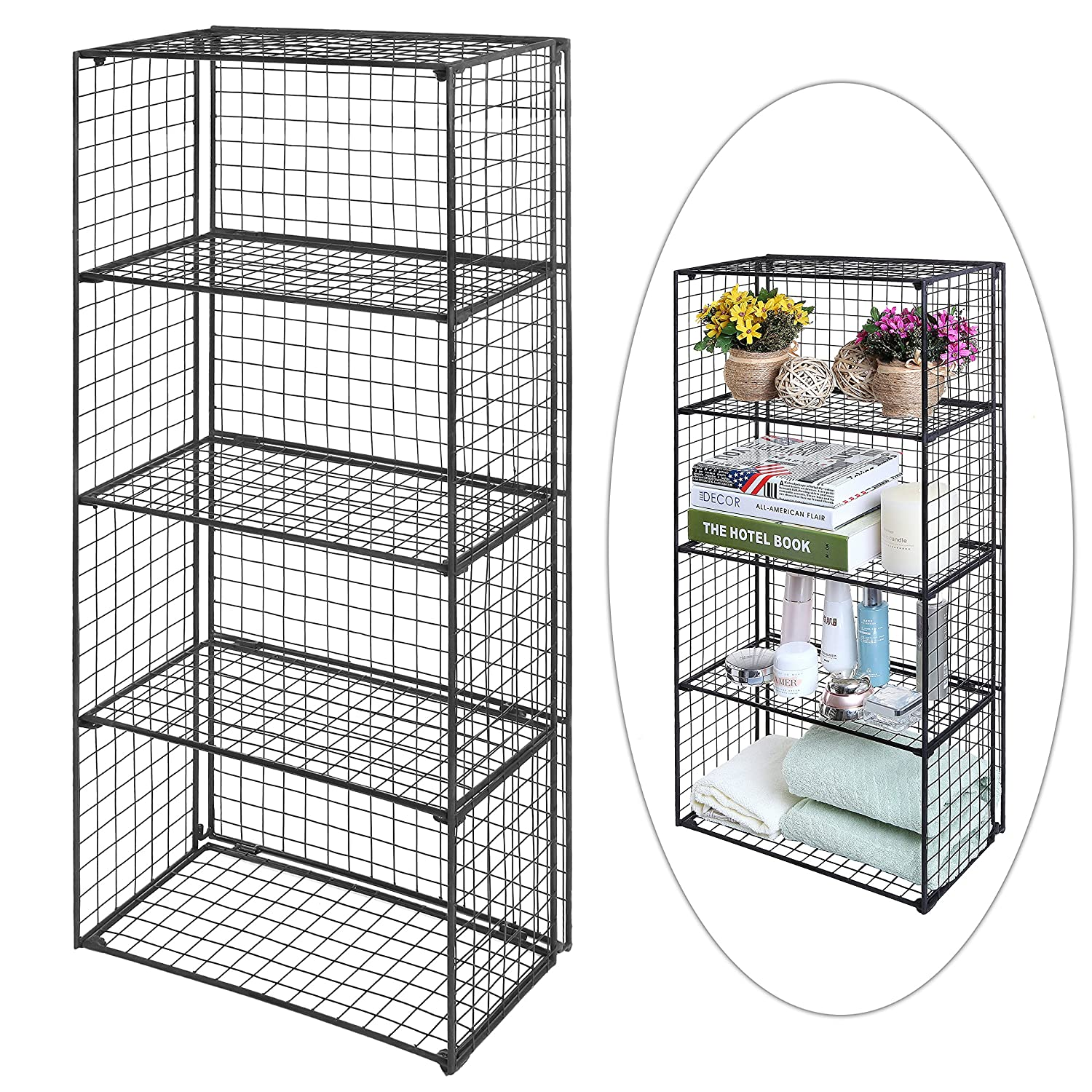 Amazon.com: Freestanding 4 Tier Black Metal Wire Storage Shelf Unit ...