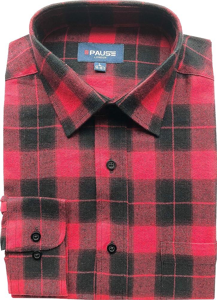 PM London - Camisa Casual - Cuadros - Clásico - Manga Larga - para Hombre PM - 1903 (1) M: Amazon.es: Ropa y accesorios