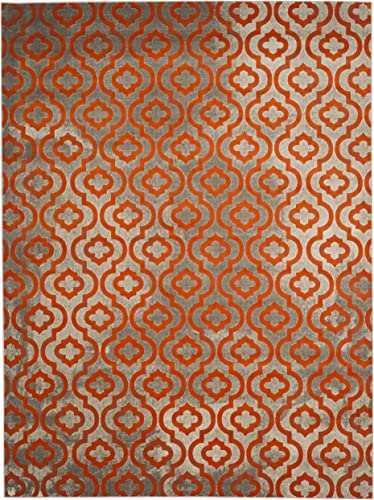 Safavieh Porcello Collection PRL7734F Light Grey and Orange Area Rug 9 x 12