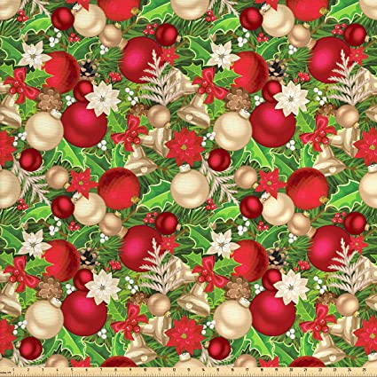 Amazon Com Ambesonne Christmas Fabric By The Yard Tree Branches