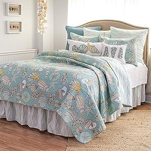 C&F Home Cabana Bay Ocean Beach Coastal Shell Full/Queen 3 Piece Cotton Quilt and 2 Standard Shams Set Full/Queen 3 Piece Set Blue