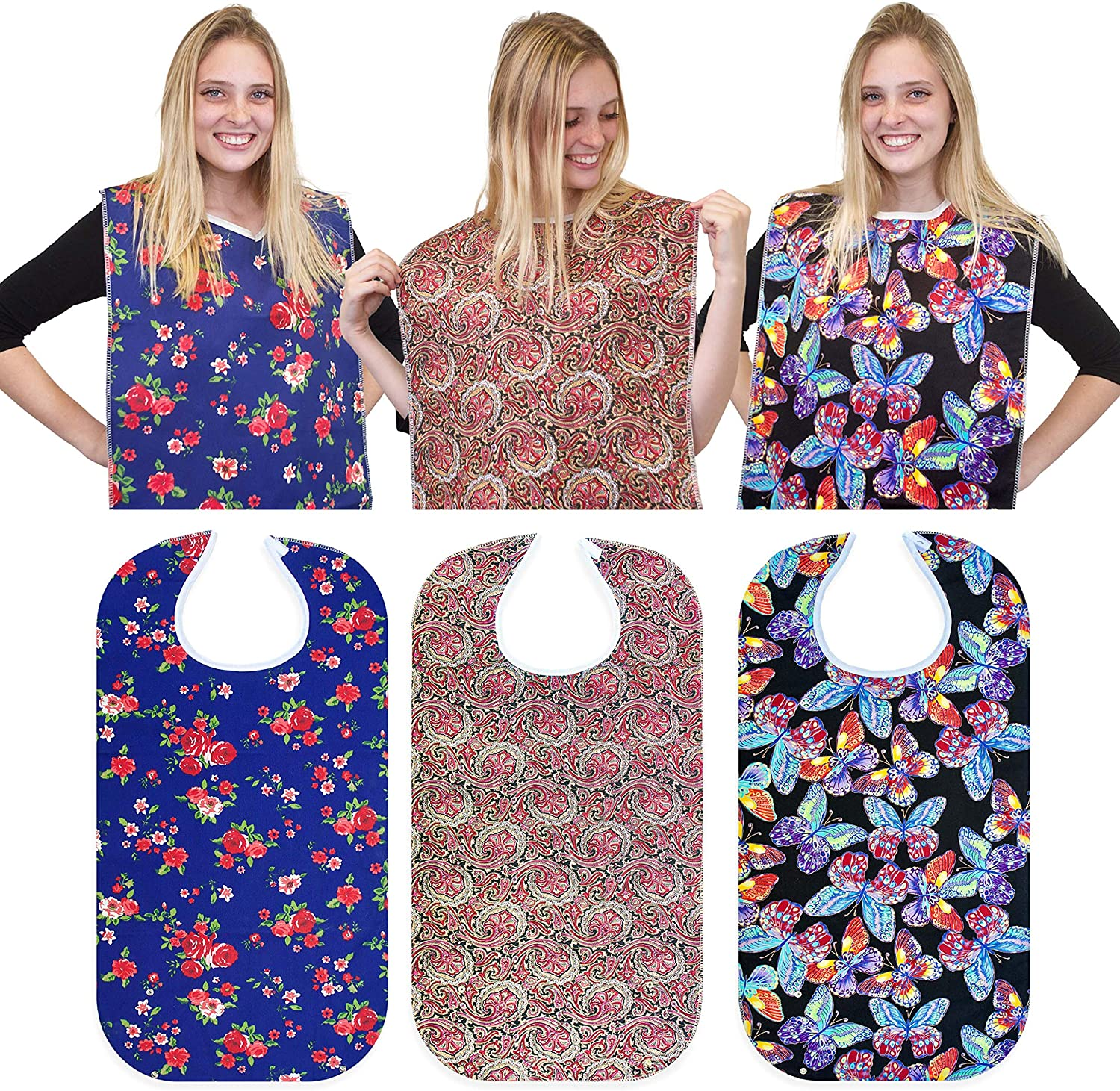 """RMS 3 Pack Adult Bib Washable Reusable Waterproof Clothing Protector with Optional Crumb Catcher and Vinyl Backing 34""""X18"""" (Butterfly/Blue Rose/Heritage): Health & Personal Care"""