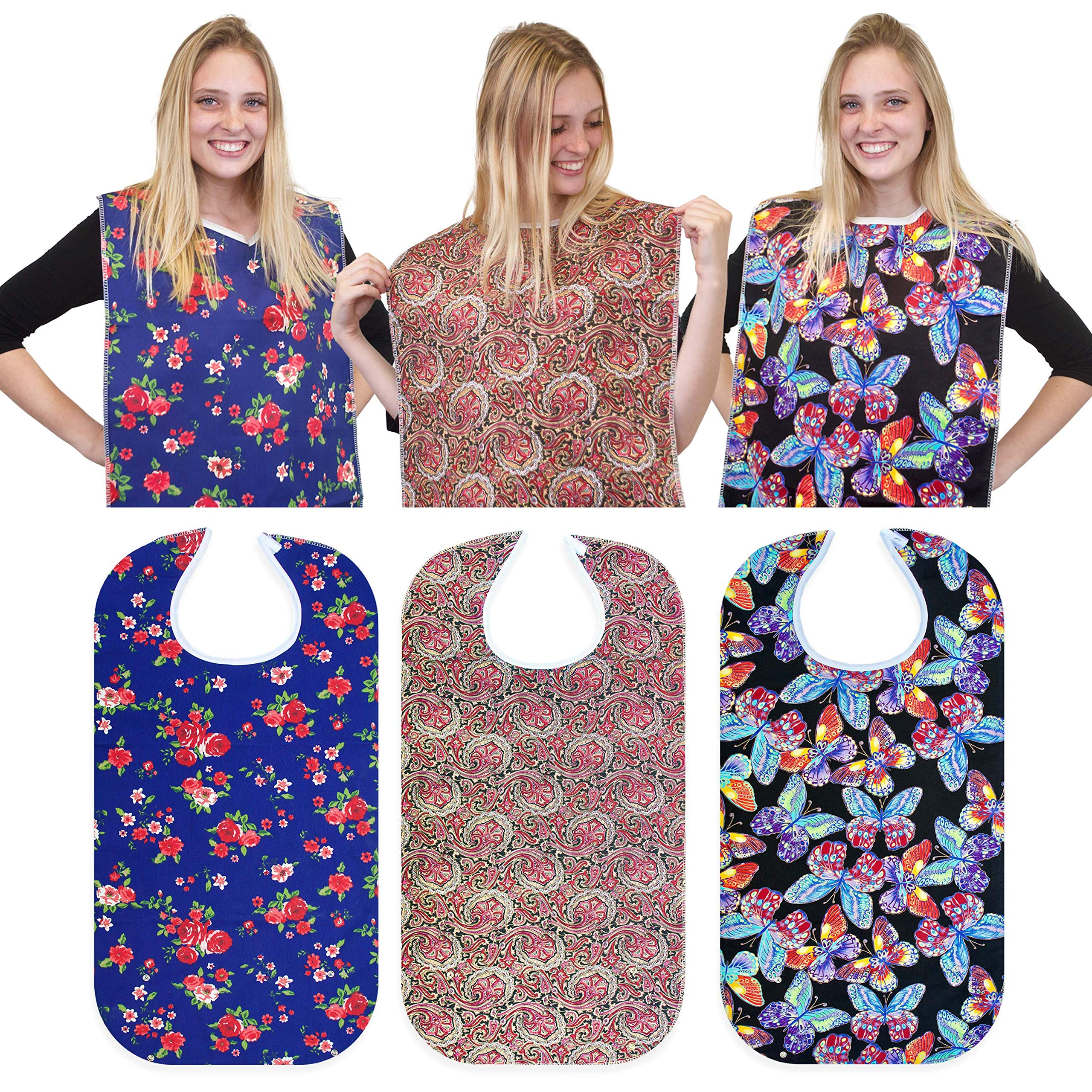 RMS 3 Pack Adult Bib Washable Reusable Waterproof Clothing Protector with Optional Crumb Catcher and Vinyl Backing 34''X18'' (Butterfly/Blue Rose/Heritage) by RMS Royal Medical Solutions, Inc.