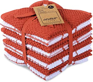 AMOUR INFINI Cotton Terry Kitchen Dish Cloths | Set of 8 | 12 x 12 Inches | Super Soft and Absorbent |100% Cotton Dish Rags | Perfect for Household and Commercial Uses | Rust