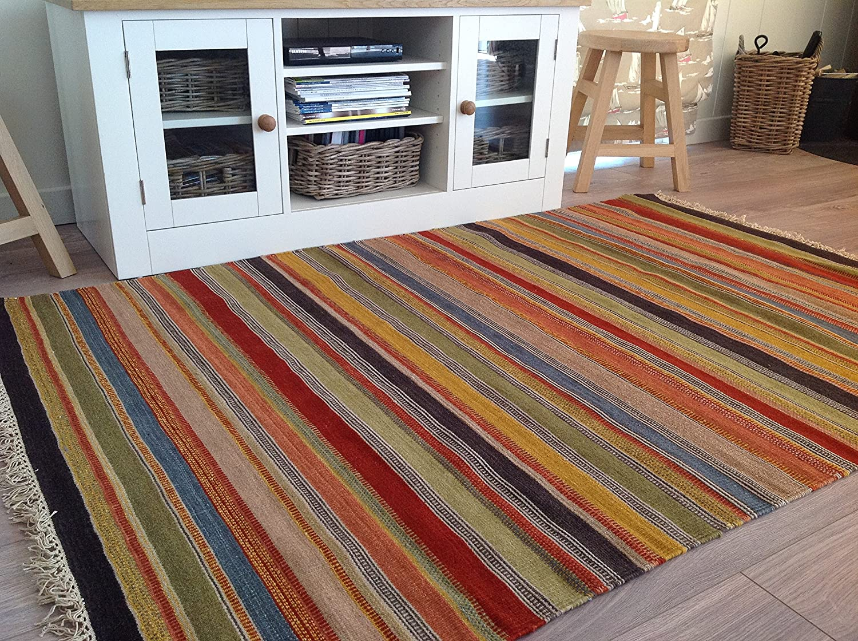 Second Nature Fair Trade Kelim Teppich – – – Ooty Kissenbezug, 120 cm x 180 cm in Feines Gewebe Wolle 9980be