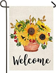 Atenia Sunflower Vase Garden Burlap Flag, Double Sided Sunflower Vase Welcome Sign Garden Outdoor Yard Flags for Summer Decor (Garden Size - 12.5X18)