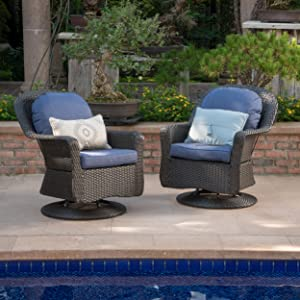 Linsten Outdoor Dark Brown Wicker Swivel Club Chairs with Navy Blue Water Resistant Cushions (Set of 2)