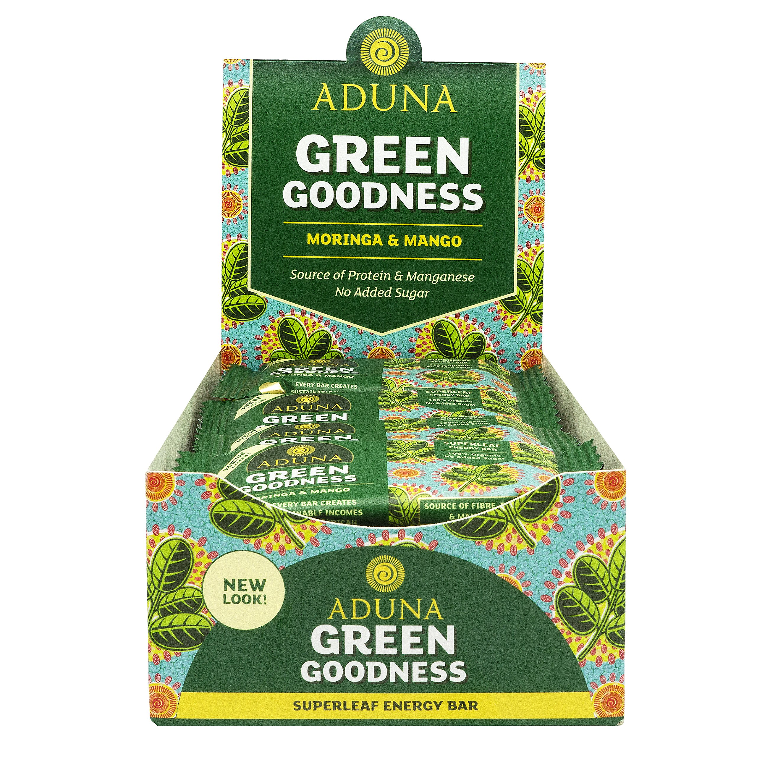 Aduna Green Goodness Superfood Energy Bar With Mango and Moringa Superleaf, 40g - (Pack of 16 Bars)
