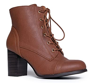 e9fb9464fcae5 Amazon.com   SODA Women's Gru Faux Leather Lace-Up Thick Platform ...
