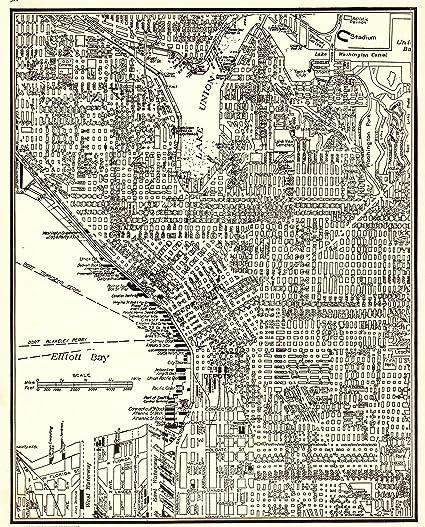 Amazon.com: 1937 Vintage Seattle Map Original Antique Map of ...