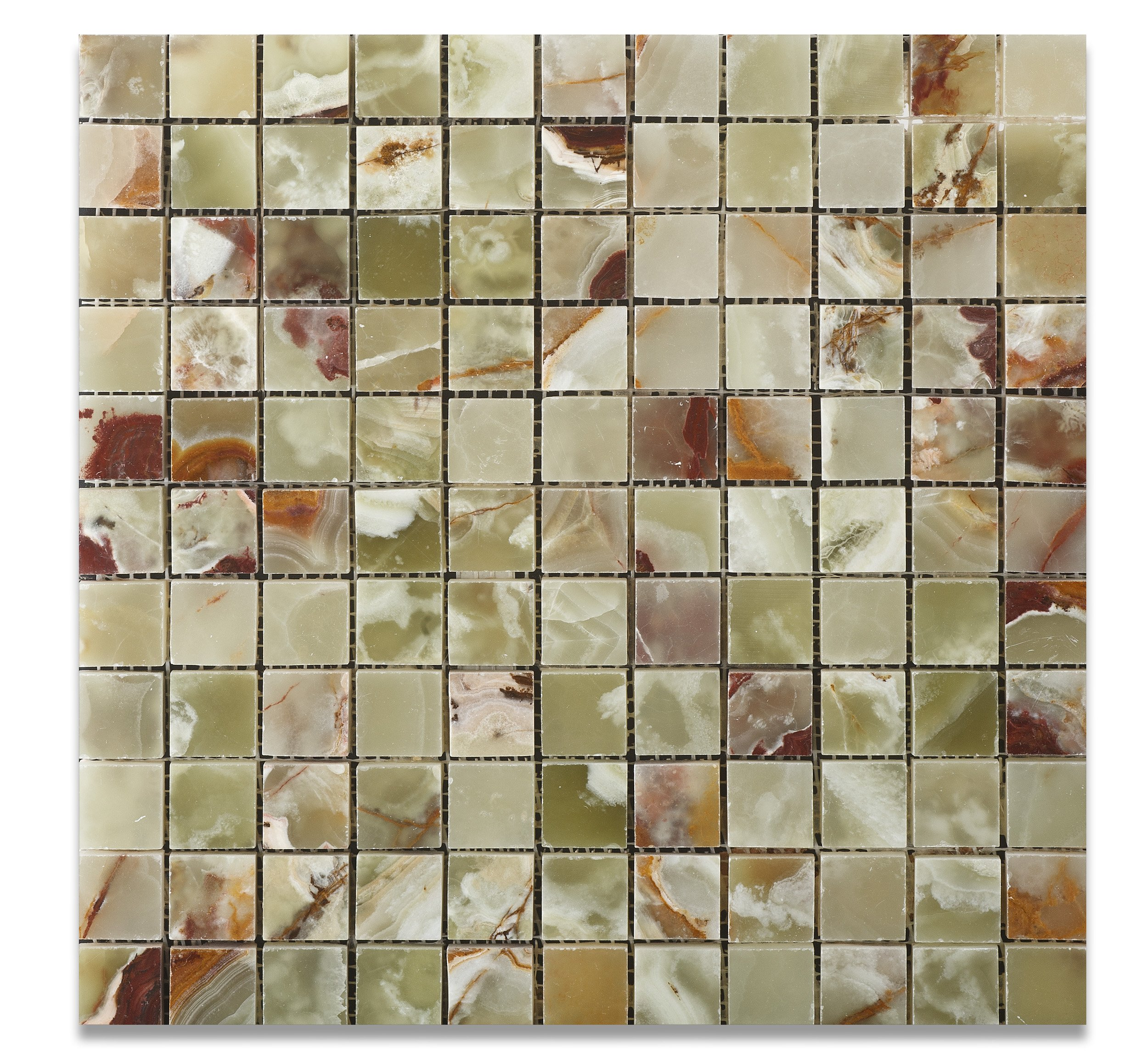 Multi Green Onyx Polished 1 X 1 Mosaic Tile on Mesh - Lot of 50 sq. ft.
