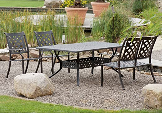 Inko Duke - Juego de mesa y sillas de jardín (aluminio fundido), color bronce: Amazon.es: Jardín