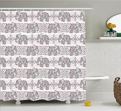 Ambesonne Tribal Shower Curtain Ethnic Asian Safari Theme Animal Elephant Nature Pattern Print