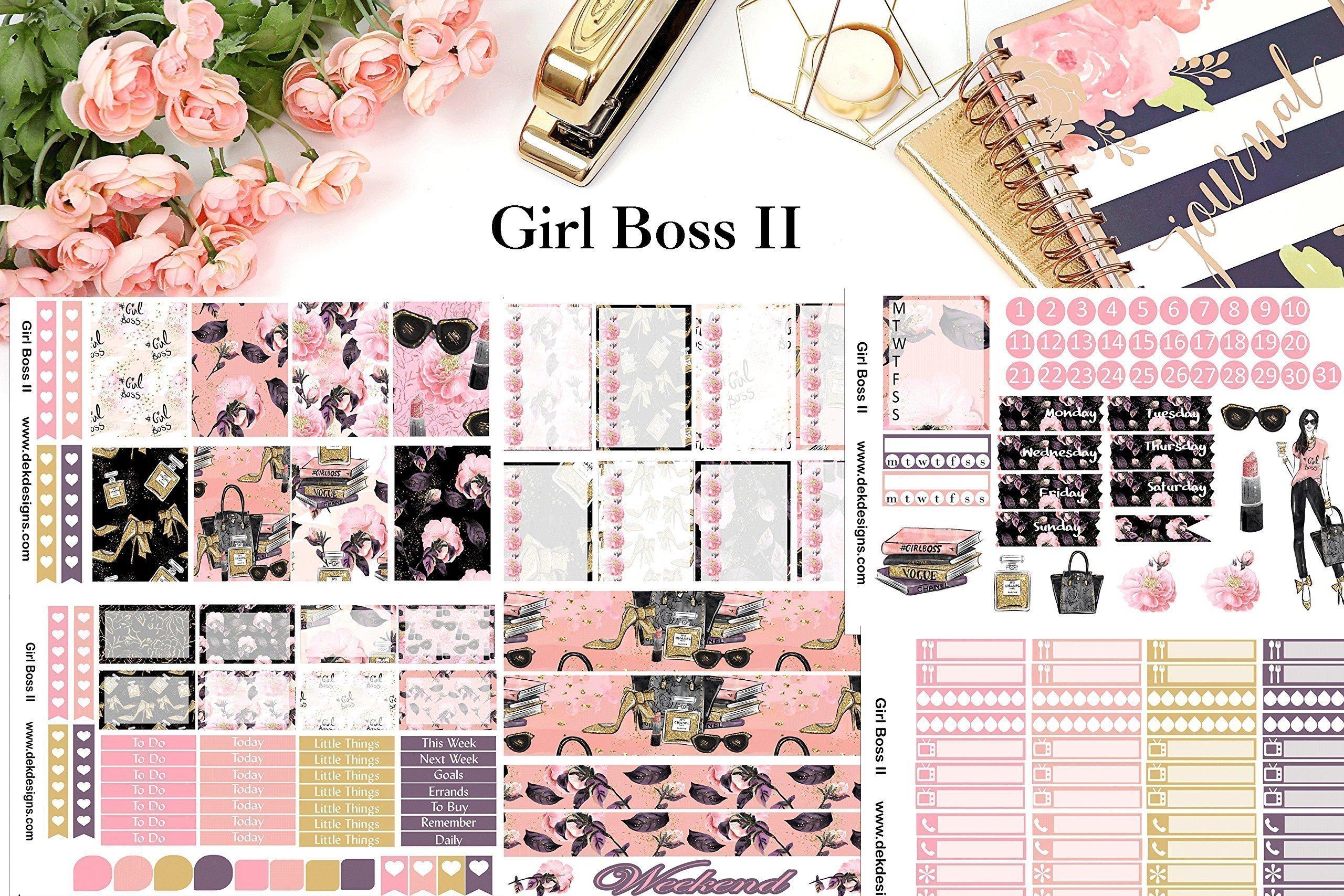 Girl Boss II, Planner Calendar Sticker Kit 6 sheets on matte sticker paper. Erin Corndren and Happy Planner sizes. Kiss cut, just peel and stick.