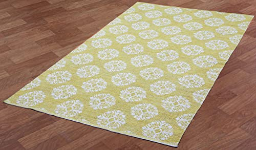 Jacquard Medallion Cotton Rug, Yellow, 3-Feet by 5-Feet