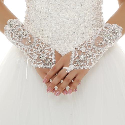 Vivian's Bridal Guanti da Sposa Lunghi senza Dita ad Anello Fiori Diamanti Artificiali in Raso Pizzo...