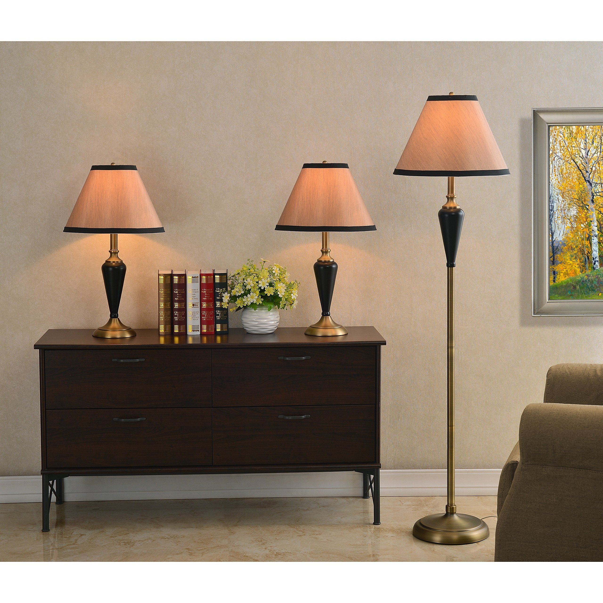 Design Craft Izaak Bronze 3-Piece Lamp Set