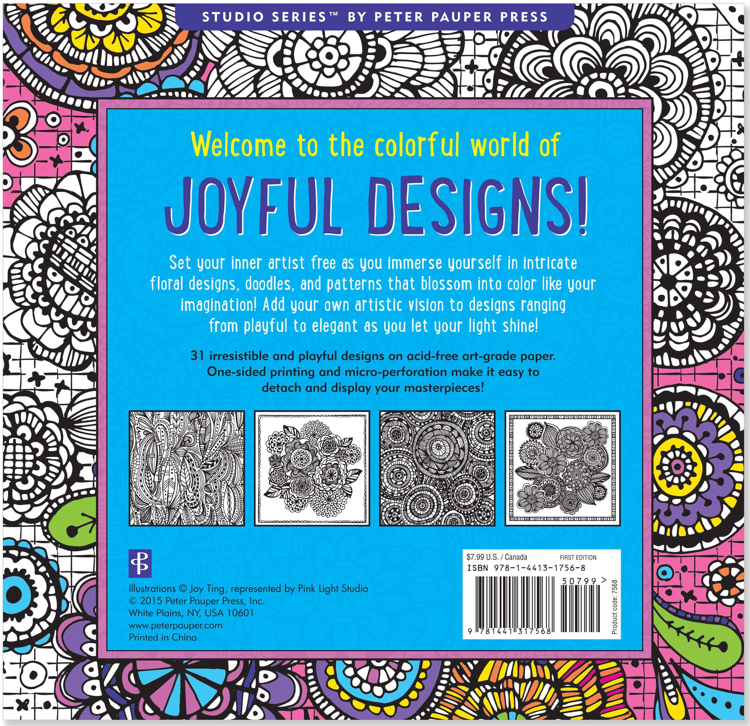 Joyful Designs Adult Coloring Book 31 Stress Relieving Joy Ting 9781441317568 Books