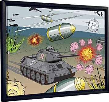 Jp London Sfcnv2127 Cartoon War Games Tank Bombs 1 5 Thick Framed Heavyweight Canvas 20 X 16 Amazon Com