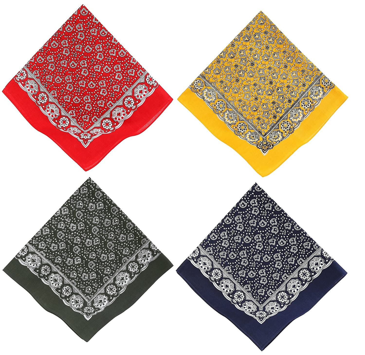 Bandana with Classic Paisley Pattern Size: 55 x 55 cm, Colours: red, yellow, green and blue color blue