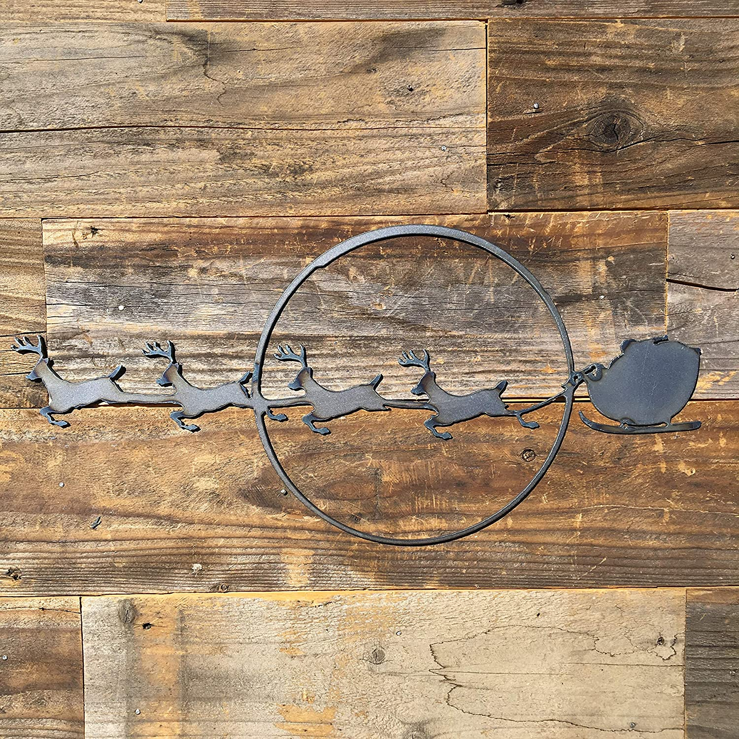 The Heritage Forge Custom Made Metal Family Wall Decor, Farmhouse Decor for The Home Perfect for Kitchen, Living Room, Bedroom, and Outdoors - Santa with Sleigh 18 x 8