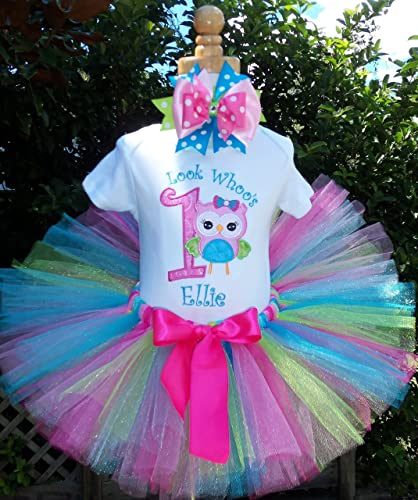 853dc7419 Image Unavailable. Image not available for. Color: Look Whoo's One Owl  Birthday tutu outfit FREE Shipping