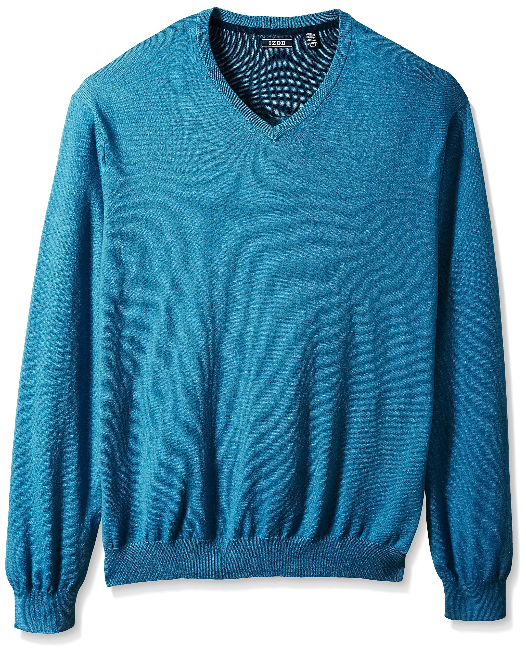 IZOD Men's Big and Tall Fine Gauge Solid V-Neck Sweater, Federal Blue Heather, 3X-Large Tall