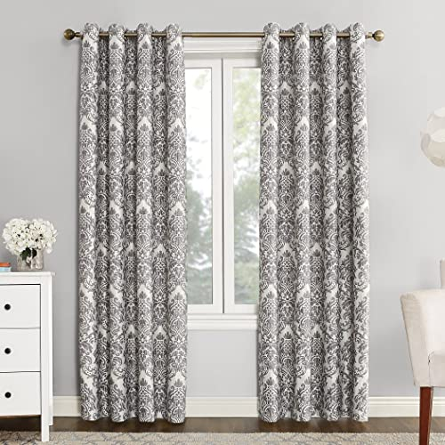 Sun Zero 53549 Caroline Woven Damask Blackout Lined Grommet Curtain Panel, 52 x 95 , Gray