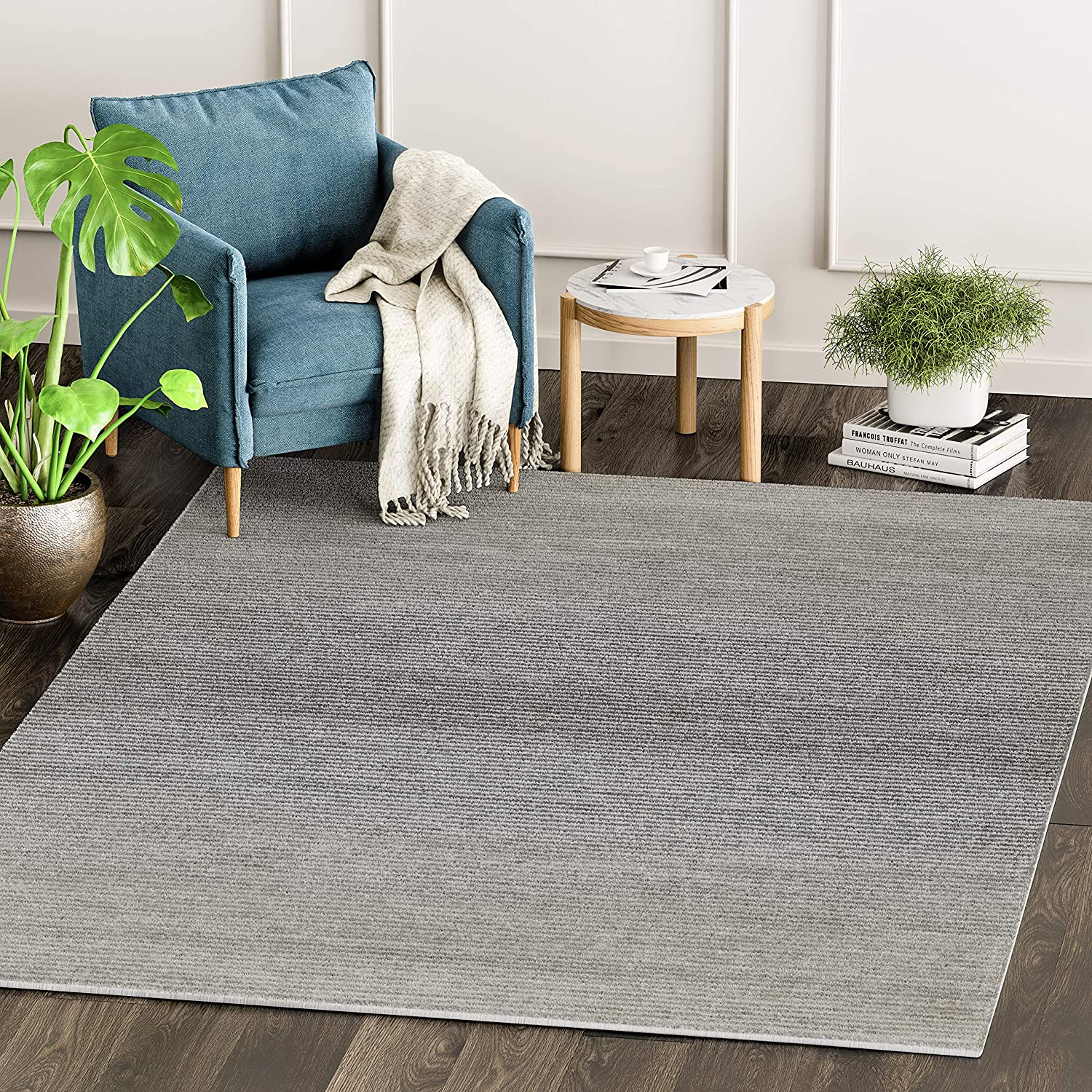 Amazon Com Abani Rugs Grey Minimalist Striped Area Rug Rustic Rugged Contemporary Modern Style Accent Vista Collection Turkish Made Superior Comfort Construction Stain Shed Resistant 5 X 7 Feet Kitchen Dining