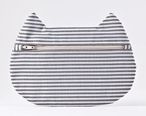 Striped Cosmetic Bag, Cat Lover Gift, Cat Makeup Bag, Pencil Case, Beauty Bag, Toiletries Bag