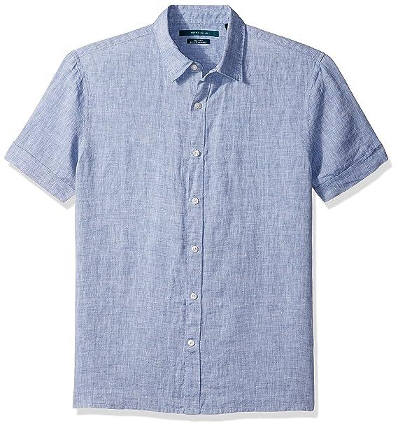3bbc8f48fa52b Perry Ellis - Camisa de Lino sólido de Manga Corta para Hombre 1   Amazon.es  Ropa y accesorios