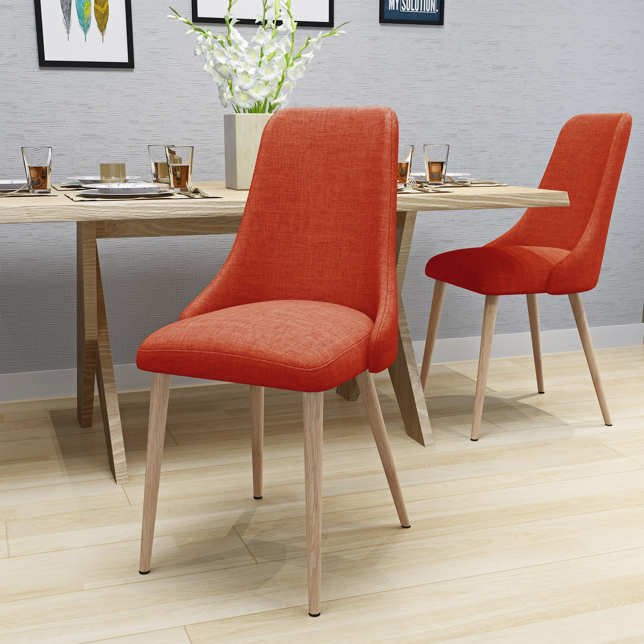 Raphelle Mid Century Muted Orange Fabric Dining Chairs with Light Walnut Wood Finished Legs (Set of 2) by Great Deal Furniture