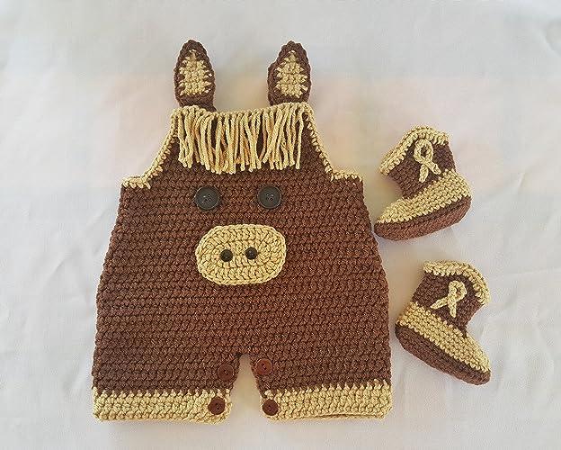 Amazon.com: Crochet newborn horse jumper outfit: Handmade