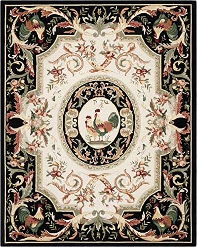 Safavieh Chelsea Collection HK48K Hand-Hooked Ivory and Black Premium Wool Area Rug 8 9 x 11 9