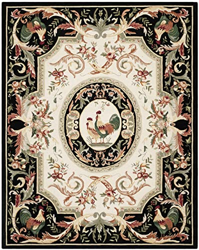 Safavieh Chelsea Collection HK48K Hand-Hooked Ivory and Black Premium Wool Area Rug 6 x 9