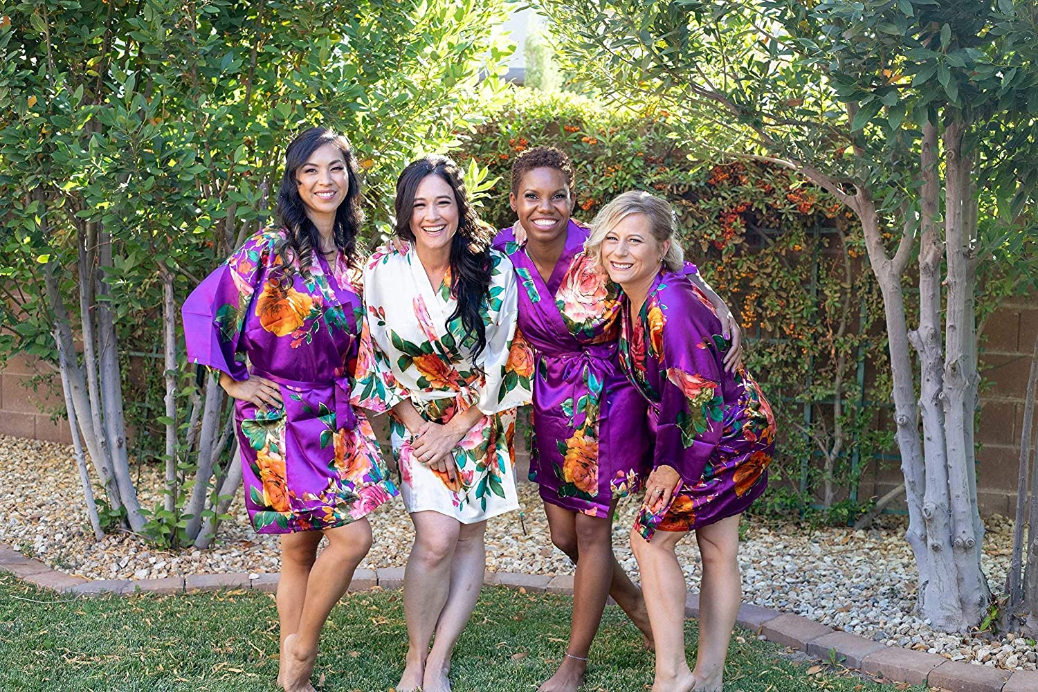 Purple Satin Floral Watercolor Bridesmaid Robes