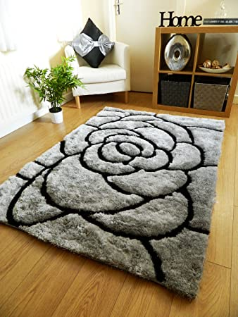 New Silver Black Luxurious Thick Pile Rug Modern Soft Silky