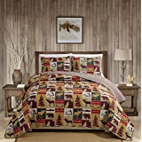Rugs 4 Less Rustic Cabin Lodge Quilt Stitched Bedspread Coverlet Bedding Set with Patchwork of Wildlife Moose Grizzly Bears D