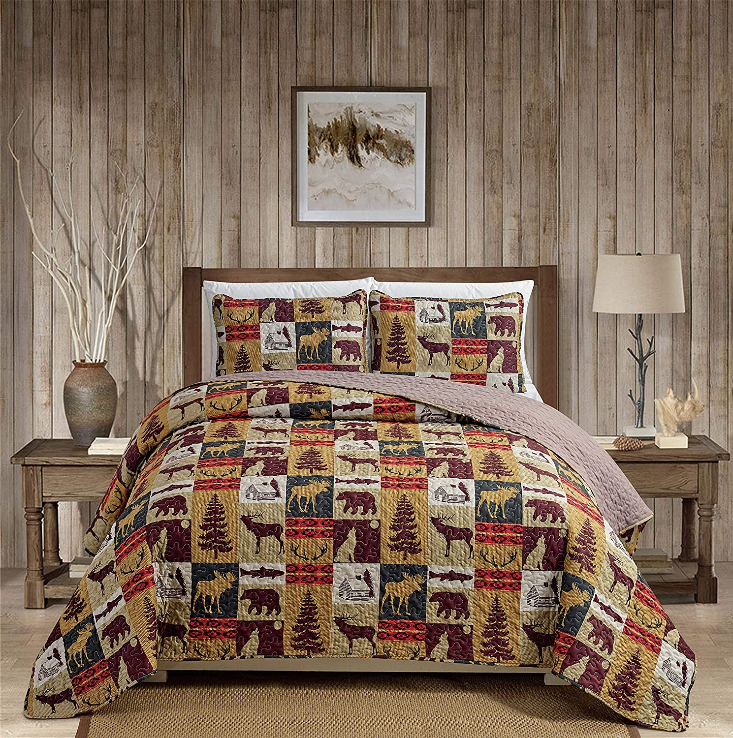 Rugs 4 Less Rustic Cabin Lodge Quilt Stitched Bedspread Coverlet Bedding Set with Patchwork of Wildlife Moose Grizzly Bears Deer Buck Antlers and Tribal Southwest Patterns - Western 3 (Twin)