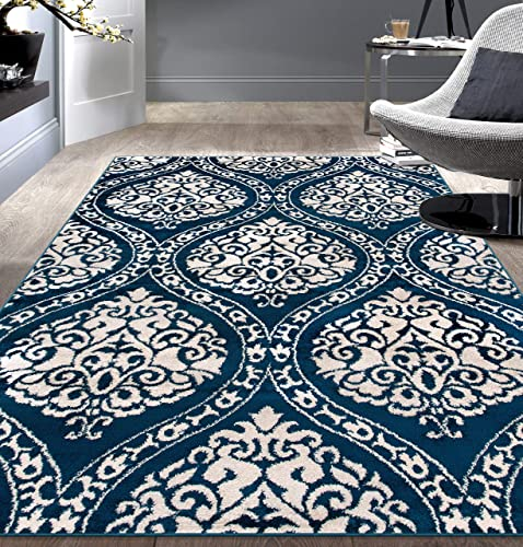 Editors' Choice: Rugshop Transitional Floral Damask Area Rug 7'10″ x 10' Navy