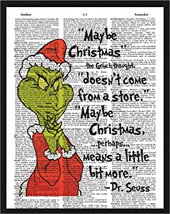 The Grinch Dr. Seuss Christmas Quote Wall Decor How The Grinch Stole Christmas Dictionary Art Print 8 x 10