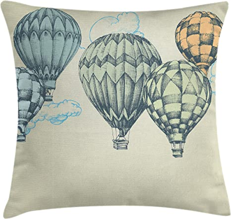 Amazon Com Ambesonne Vintage Throw Pillow Cushion Cover Hot Air Balloons In Soft Tones Fly In The Sky Air High Tourism Design Print Decorative Square Accent Pillow Case 18 X 18 Green Blue