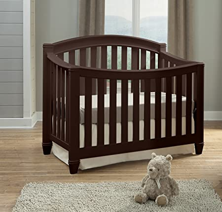 Thomasville Kids Highlands 4-in-1 Convertible Crib, Espresso, Easily Converts to Toddler Bed Day Bed or Full Bed, Three Position Adjustable Height Mattress, Assembly Required Mattress Not Included