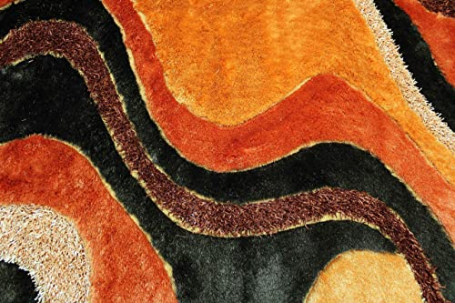 5×7 Feet Orange Brown Beige Colors Two Tone Shag Shaggy 3D Carved Area Rug Carpet Rug Indoor Bedroom Living Room Decorative Designer Modern Contemporary Plush Pile Polyester Made Canvas Backing