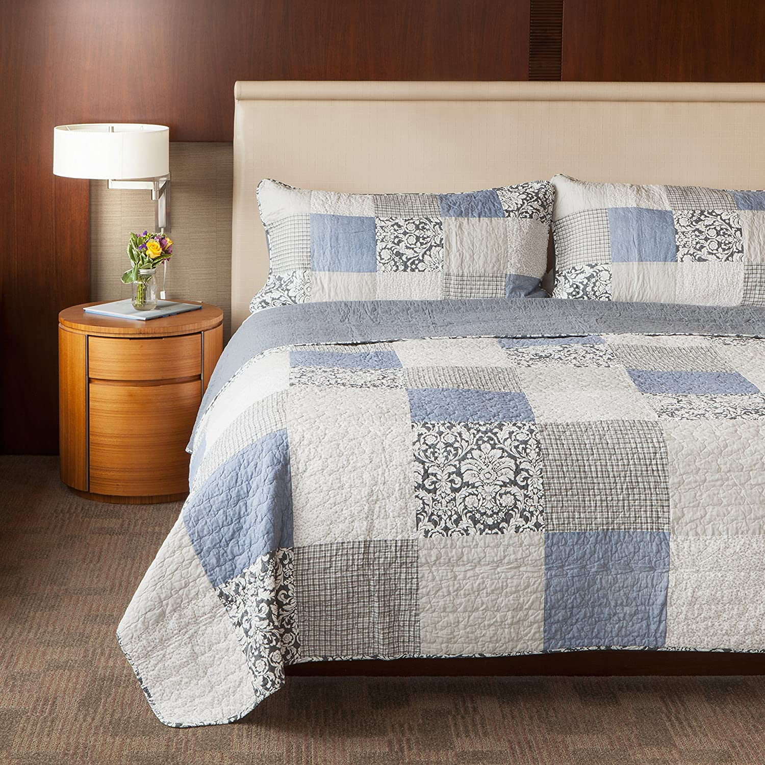 SLPR Sweet Dreams 3-Piece Patchwork Cotton Bedding Quilt Set - King with 2 Shams | Blue Country Quilted Bedspread