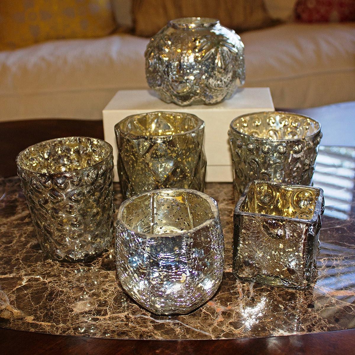 Mercury Glass Assorted Votive Candle Holders Vintage Metallic Tea Light (Set of 6)