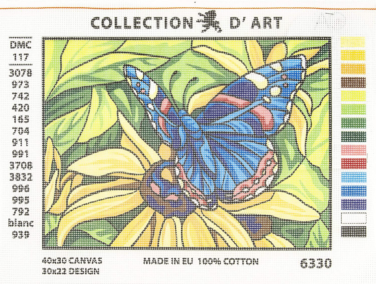 RTO CD6330 Collection DArt Needlepoint Printed Tapestry Canvas 22X30cm-Butterfly Butterfly